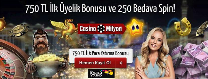 Casinomilyon Hoşgeldin Bonusu 750 TL